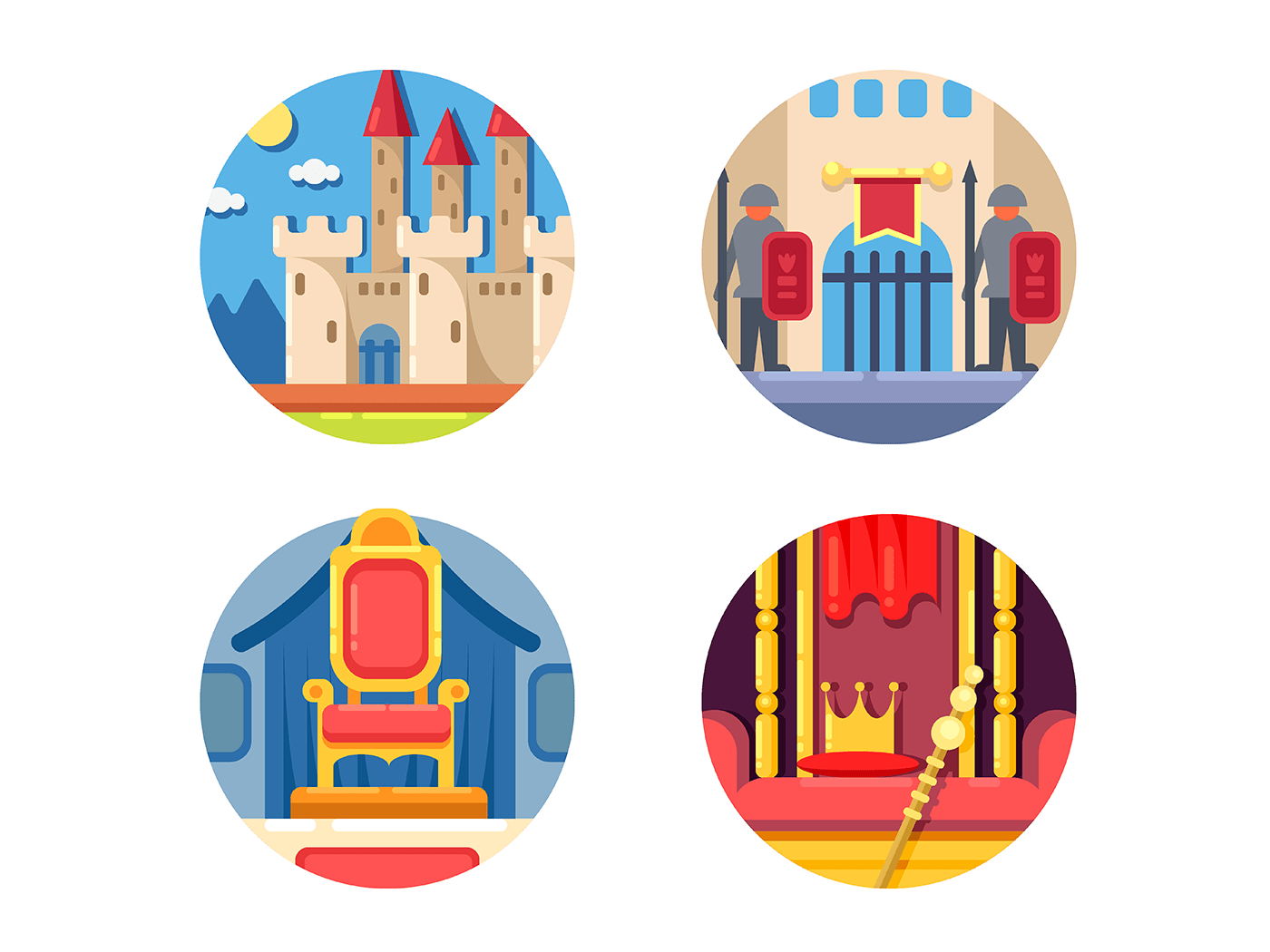 Medieval kingdom set icons