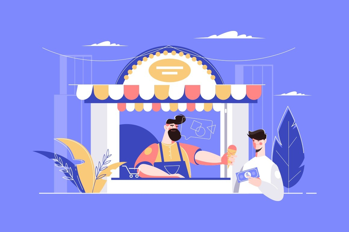 Man buying ice-cream in kiosk vector illustration. Bearded seller giving to guy with money ice cream cone flat style concept. Street food. City landscape on background