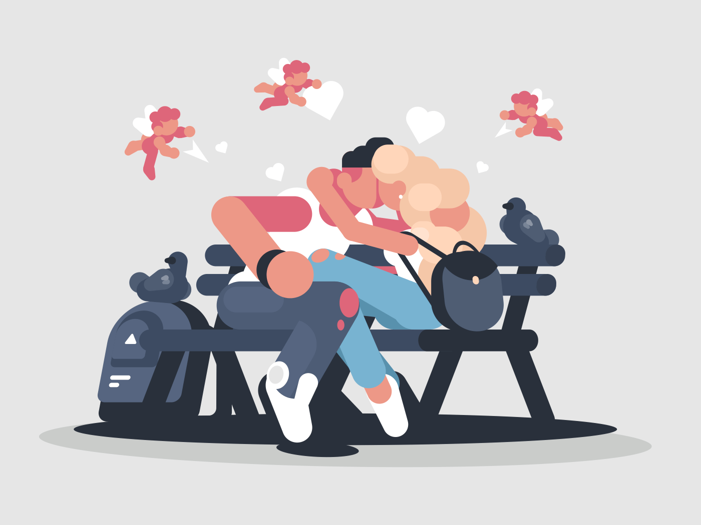 Guy with girl kissing in park on bench. Vector illustration