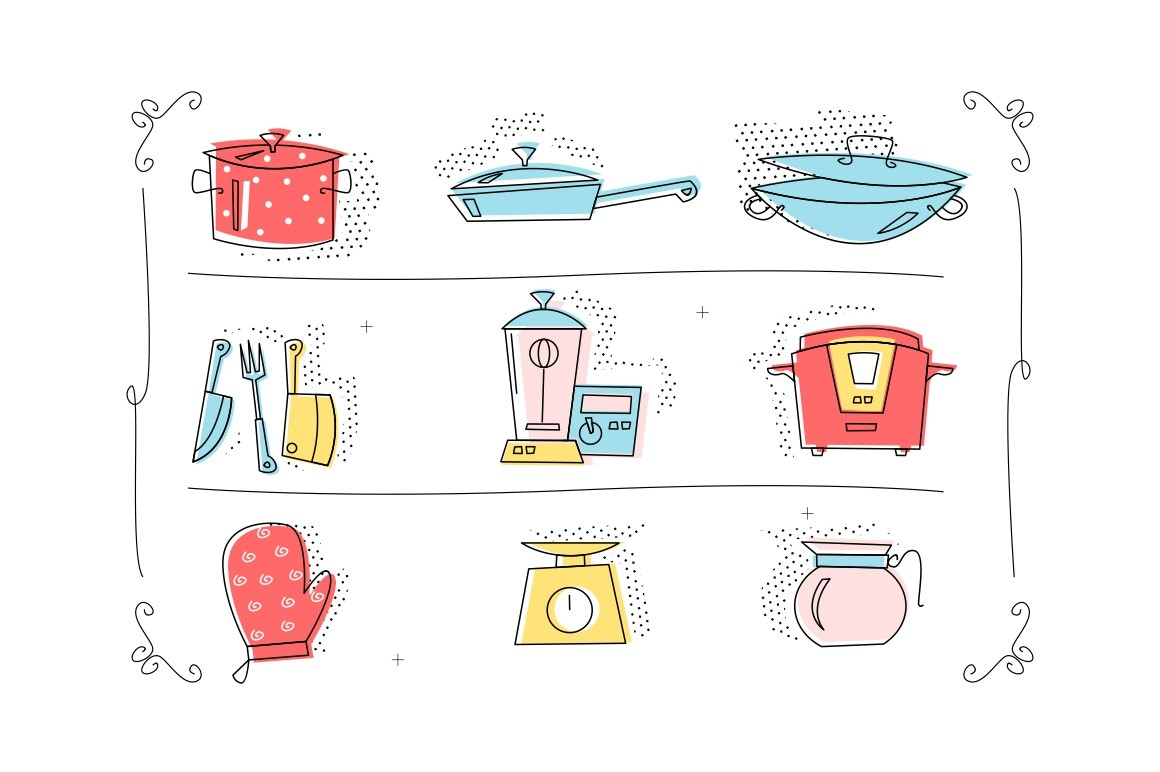 Kitchenware icons set vector illustration. Collection consists of saucepan, frying pan, wok, knife, folk, slow cooker, kitchen scale, mitten, blender flat style concept. Isolated on white
