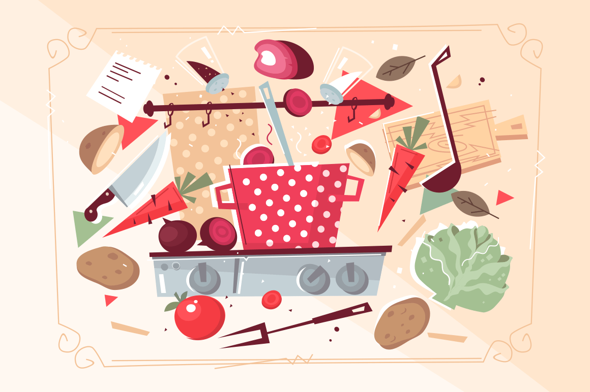 Kitchen pattern with food and kitchenware vector illustration. Vegetables and culinary appliances in square frame flat style design. Cooking meals concept. Isolated in beige