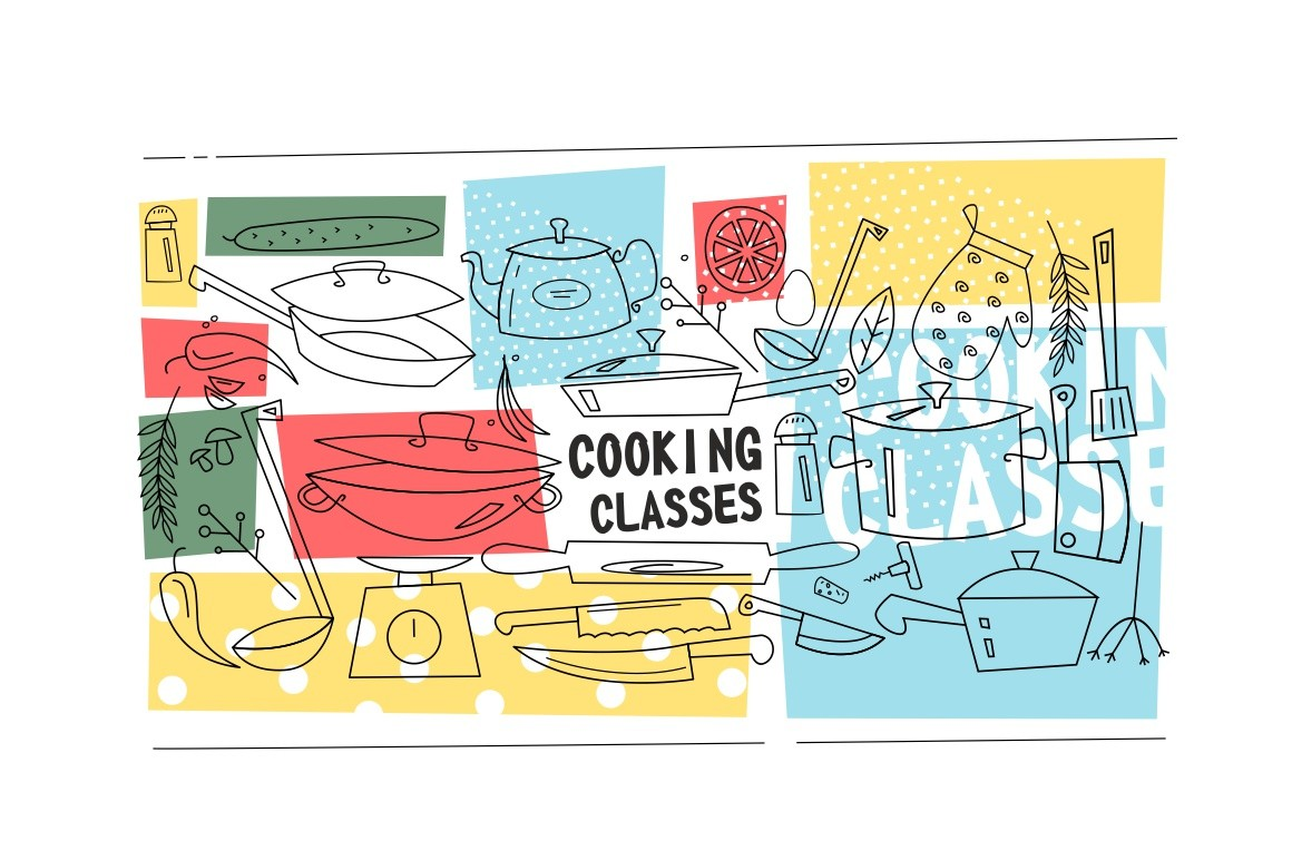 Cooking classes template vector illustration. Kitchenware, utensil, vegetables and spices flat style design