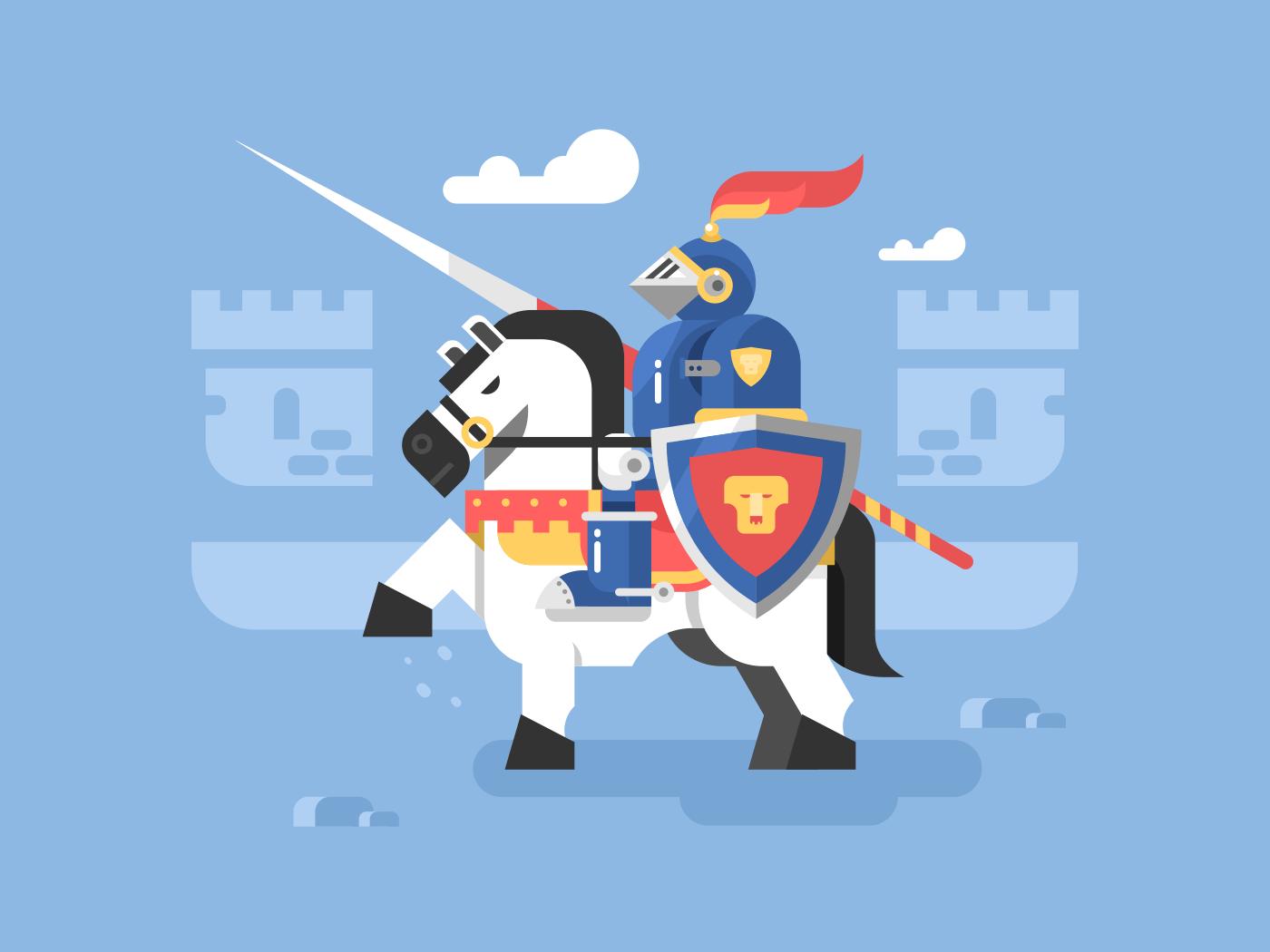 Knight on horseback flat vector illustration