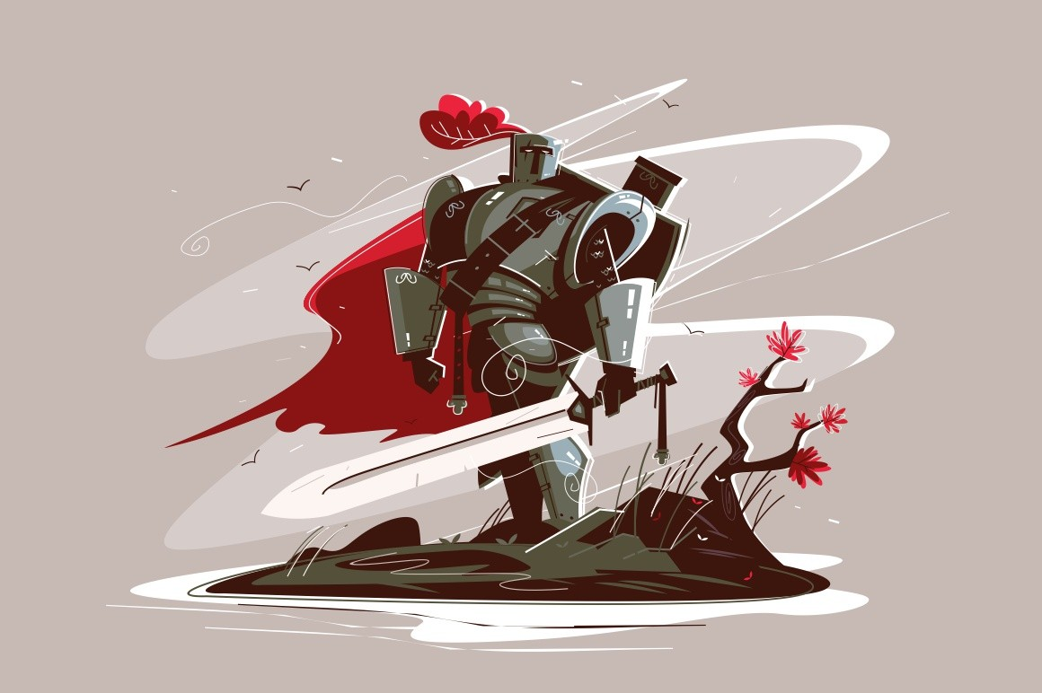 Medieval strong knight vector illustration. Warrior wearing iron armor and holding sword flat style design. Man standing on battlefield. War or power concept
