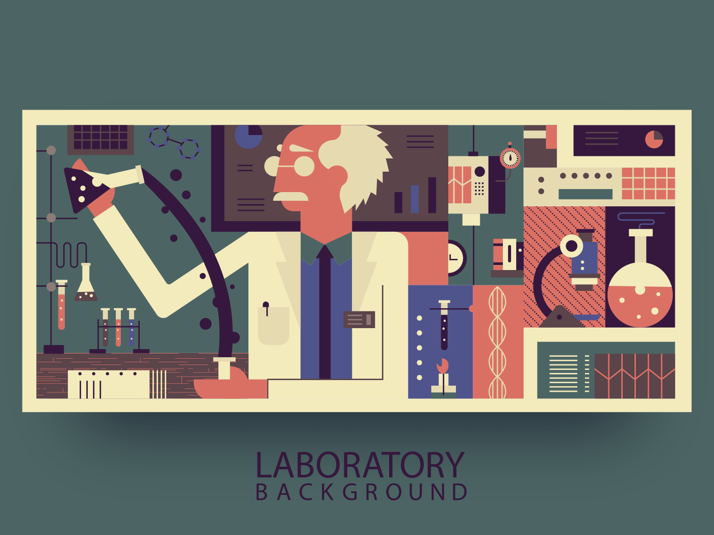 Scientist in laboratory abstract background