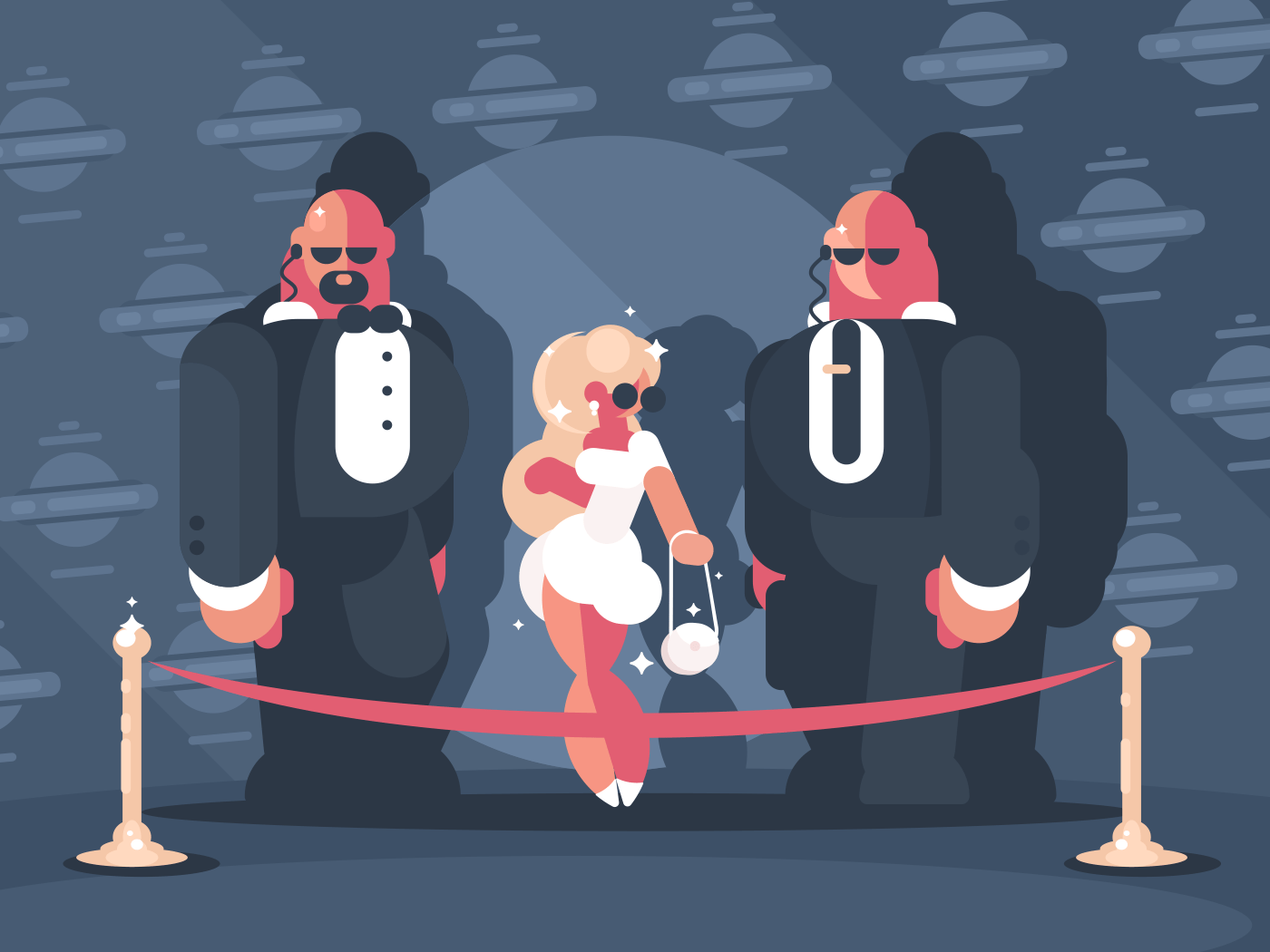 Elegant blonde lady famous star with bodyguards. Vector flat illustration