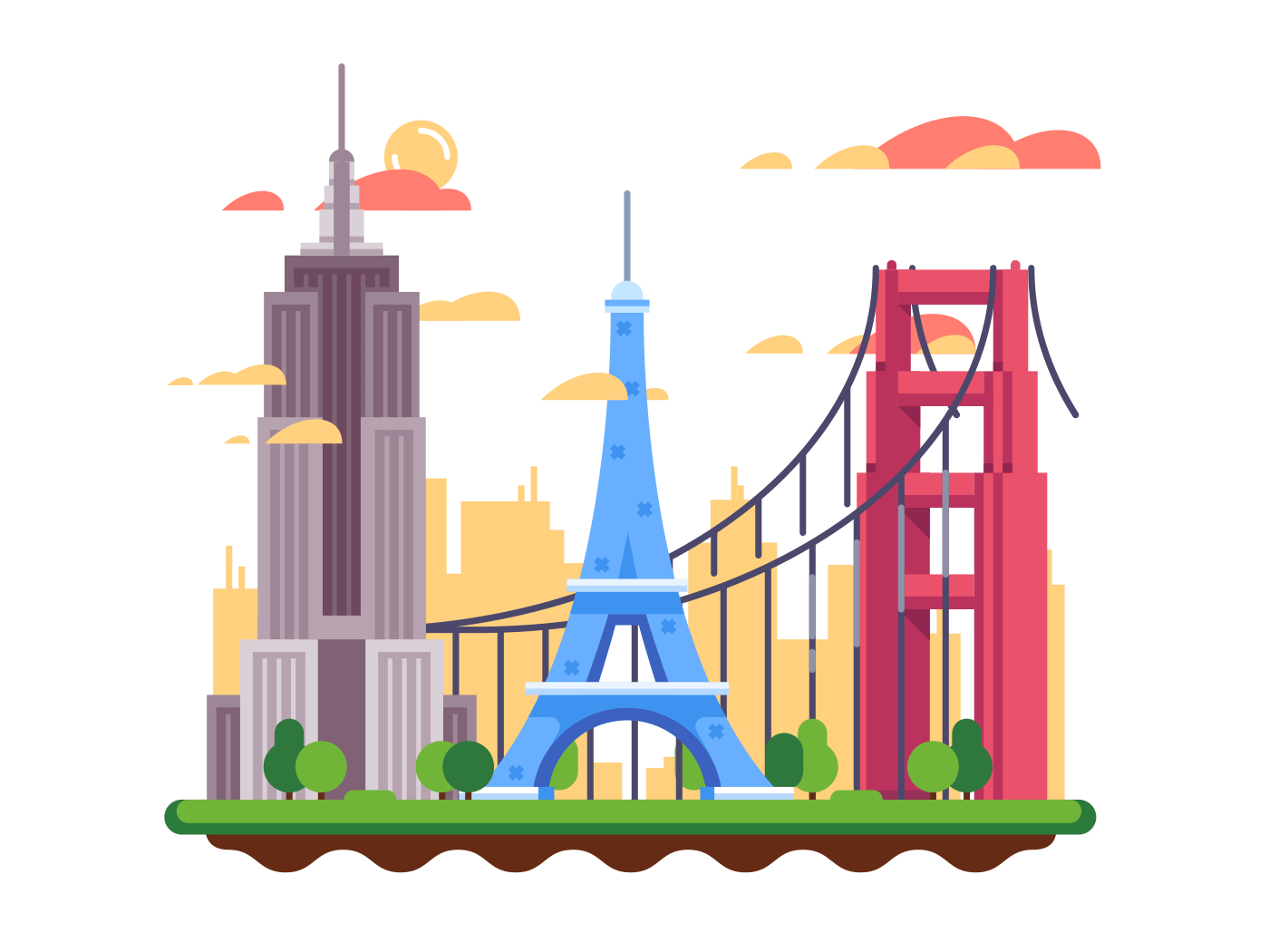 Famous landmarks flat vector illustration