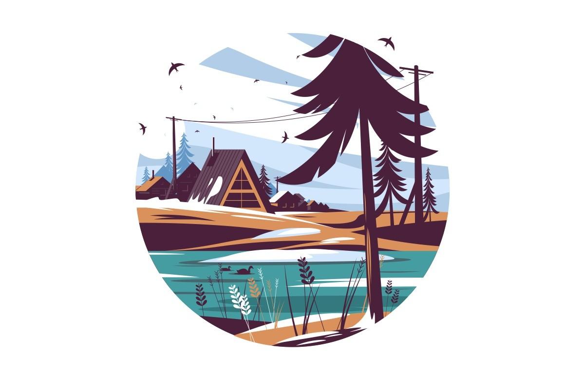 Landscape with naked trees and snow vector illustration. House near lake and freezing on ground flat style. Round shaped image. Isolated on white background