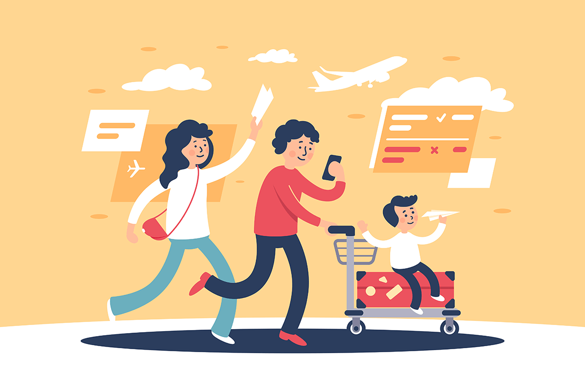 Flat parent with child and travel personal items late for plane.