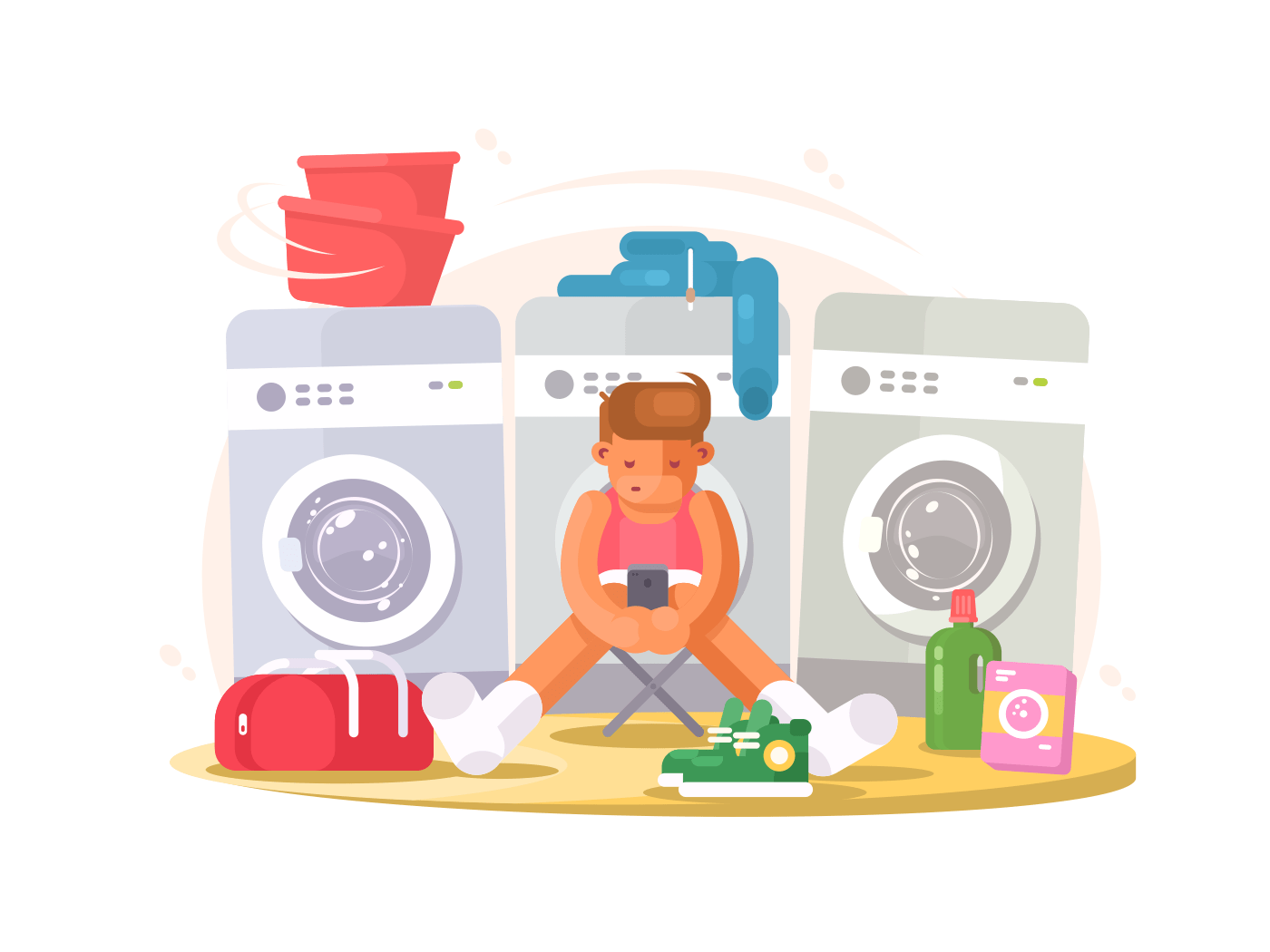 Man in underwear waiting washing illustration