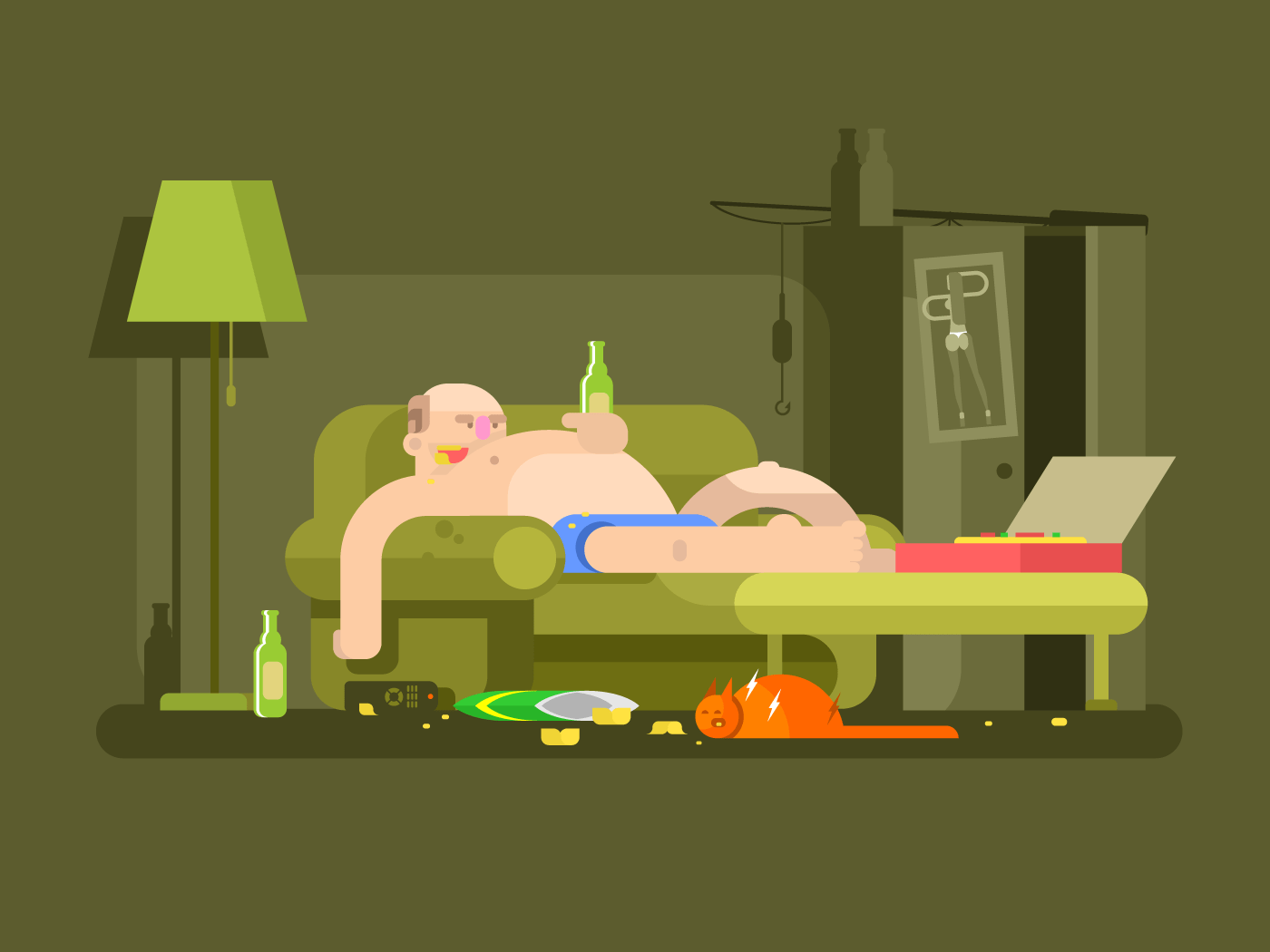 Lazybones character flat vector illustration