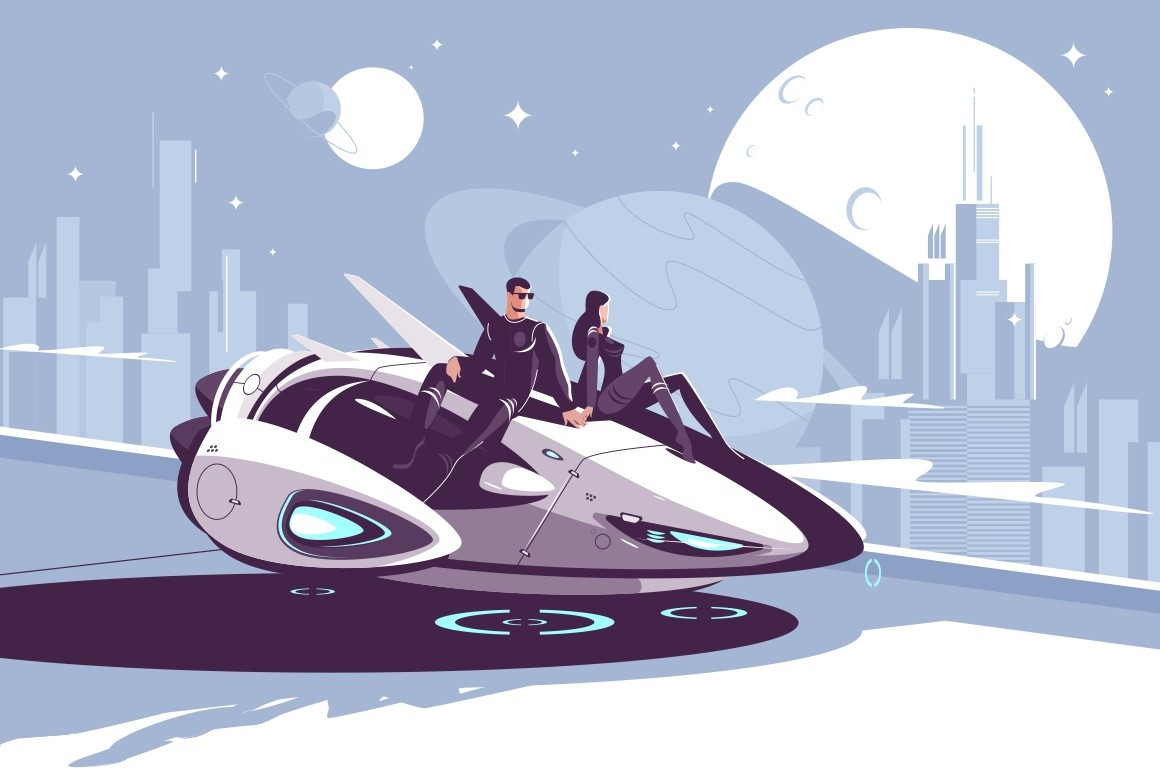 Modern levitation car vector illustration. Romantic couple of future sitting on high-tech automobile and looking on moon background of futuristic night city