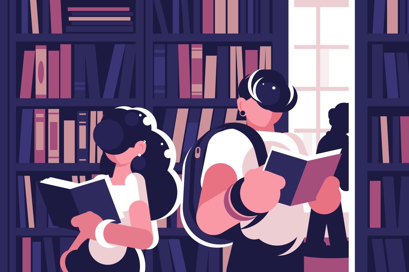 People read in library. Concept young man, teenager and girl, woman gets knowledge, studying, read book. Vector illustration.