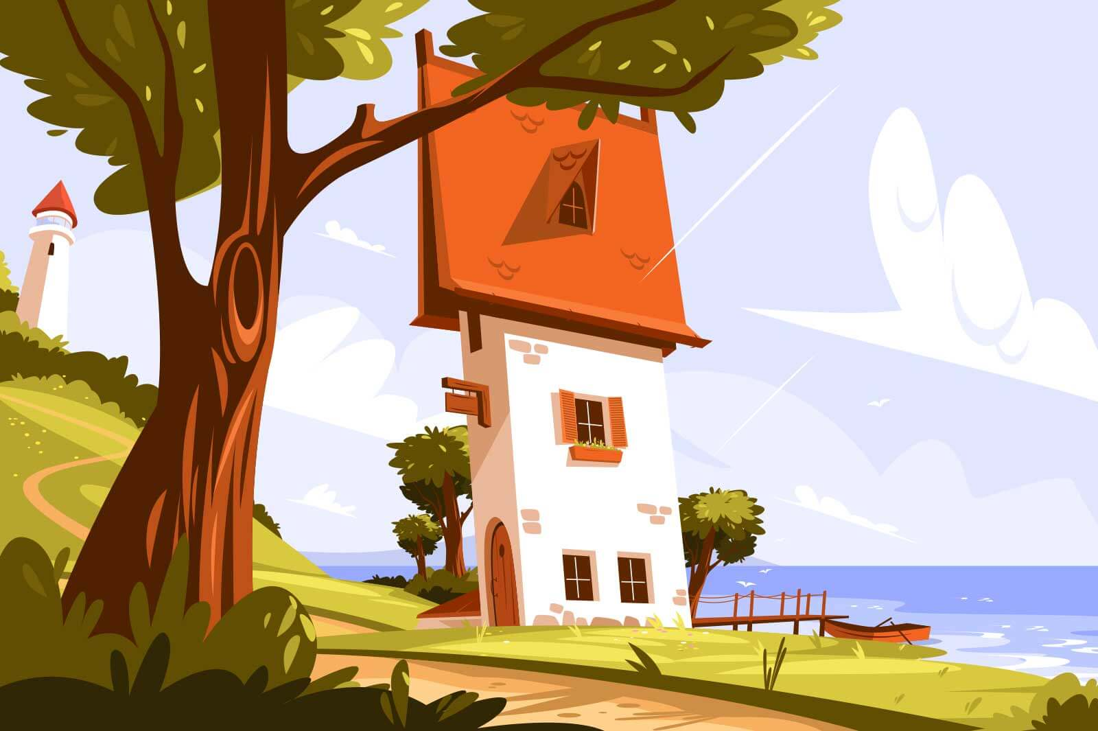 Lighthouse standing on land vector illustration. Signal building on seaside flat style. Coastline landscape with beacon. Sea and lonely house. Hope symbol solitude and nature concept