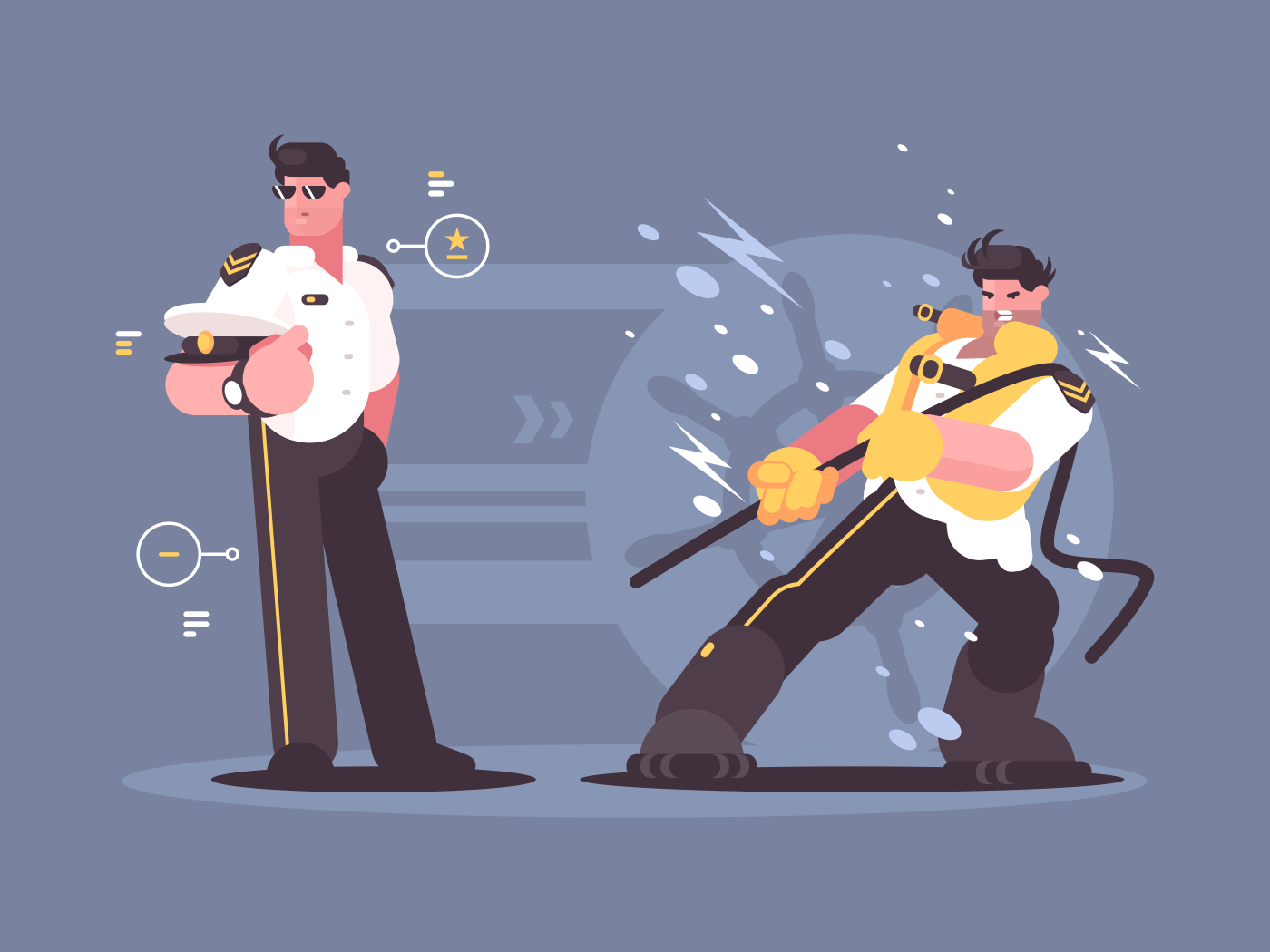 Captain of cruise liner in uniform. Chief on ship. Vector illustration