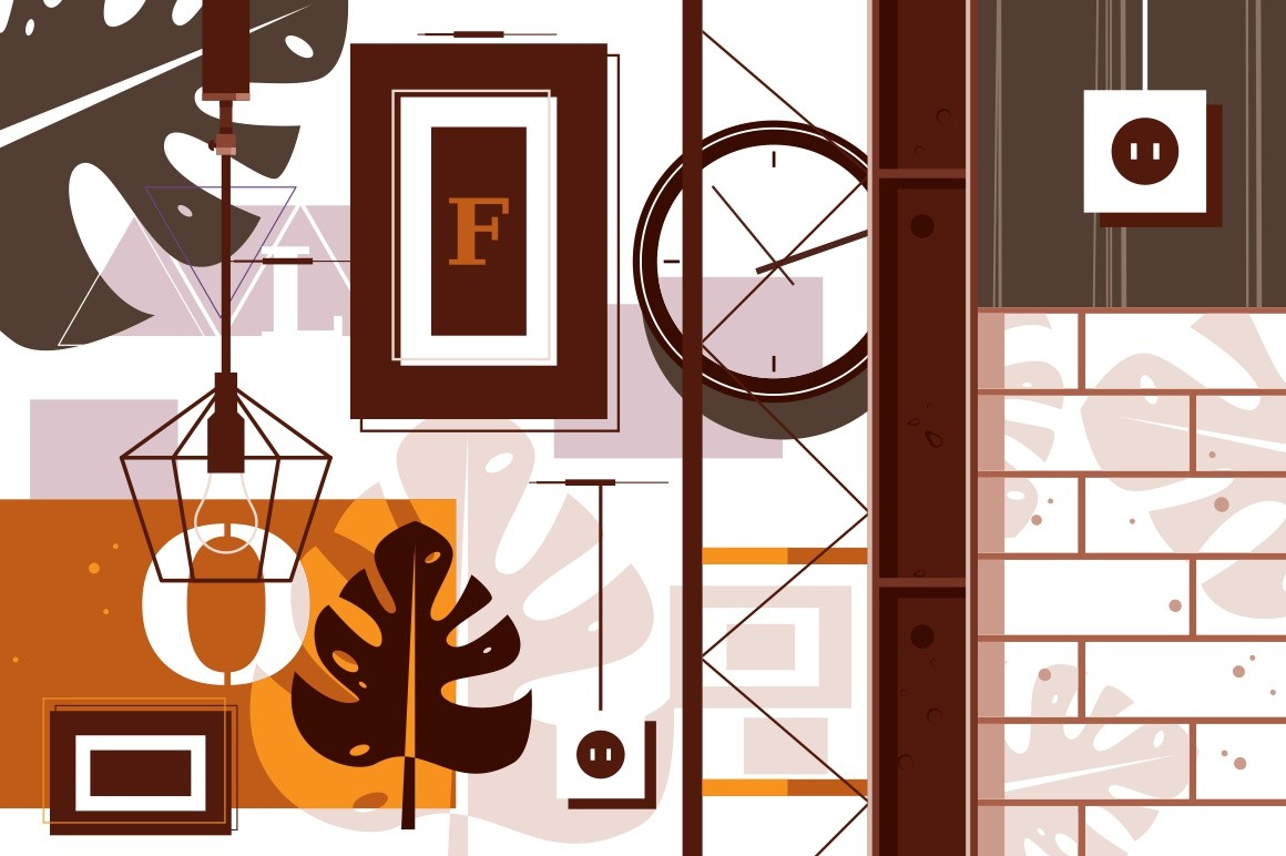 Loft in interior design vector illustration. Room decorated in modern urban style flat style concept. Open space and industrial elements in decor. Creative and minimalistic repair of home