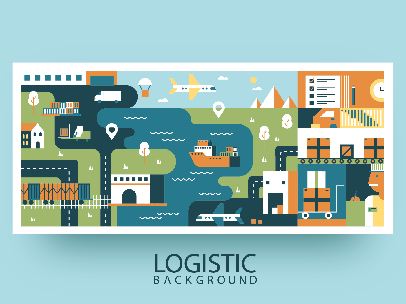 Transportation logistic abstract background