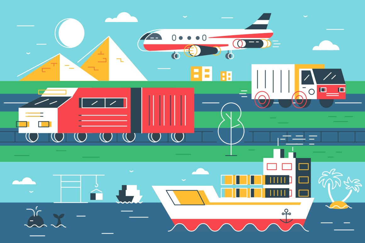 Natural logistic opportunities vector illustration. Different types of modern hard shipment transport airplane, ship, big cargo truck on sea, road and airways