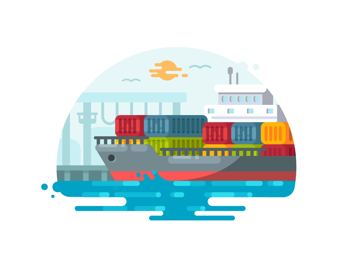 Maritime logistics and transportation illustration
