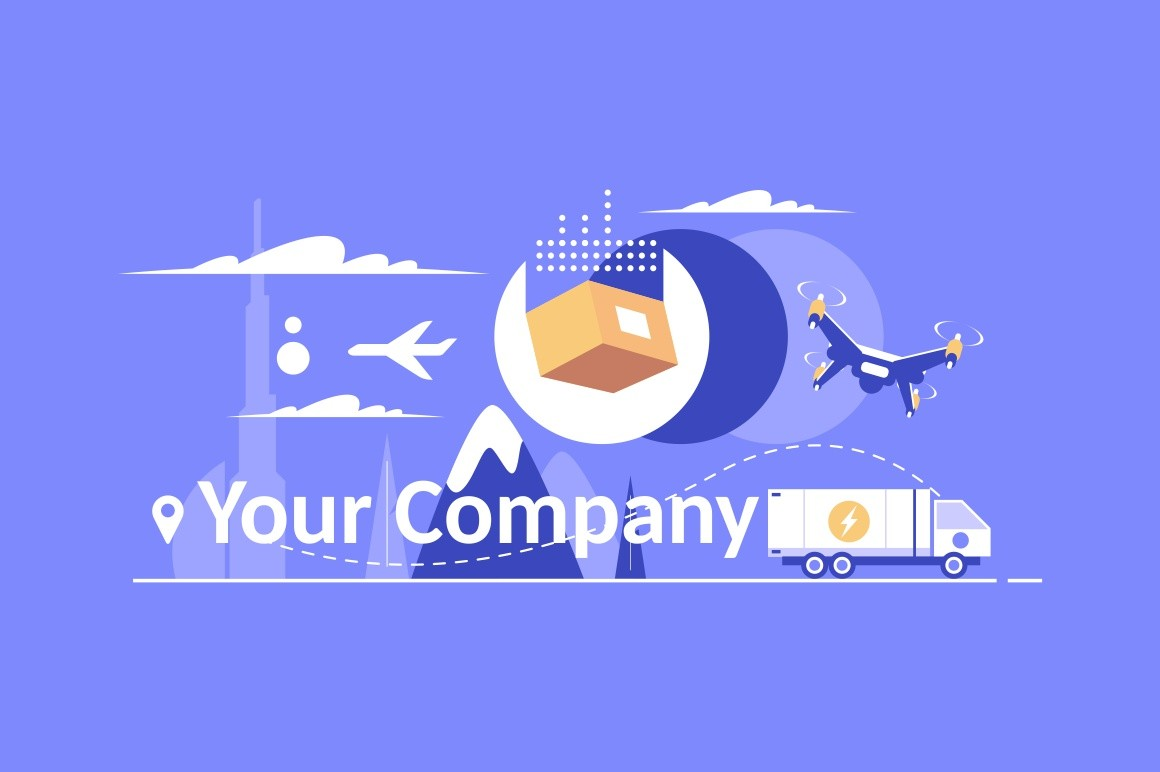 Delivery service design elements for your company logo vector illustration. Modern logotype, business corporate template with various ways of delivering such as air, truck and drone flat style concept