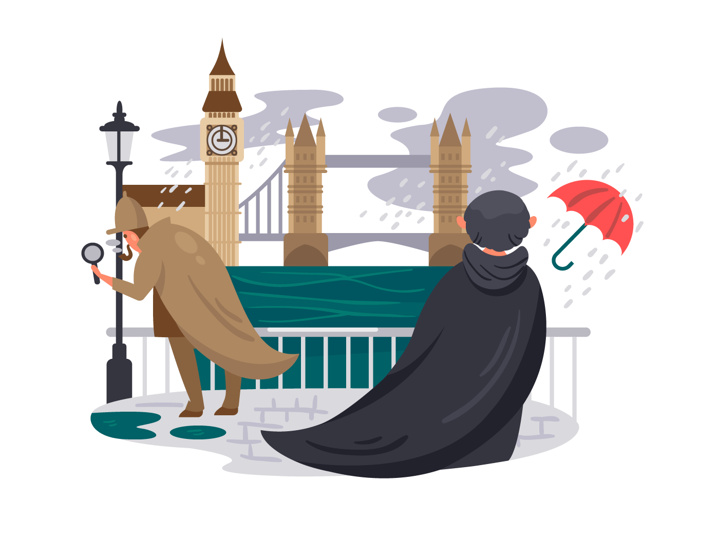 London river embankment. People in rain on waterfront. Vector illustration