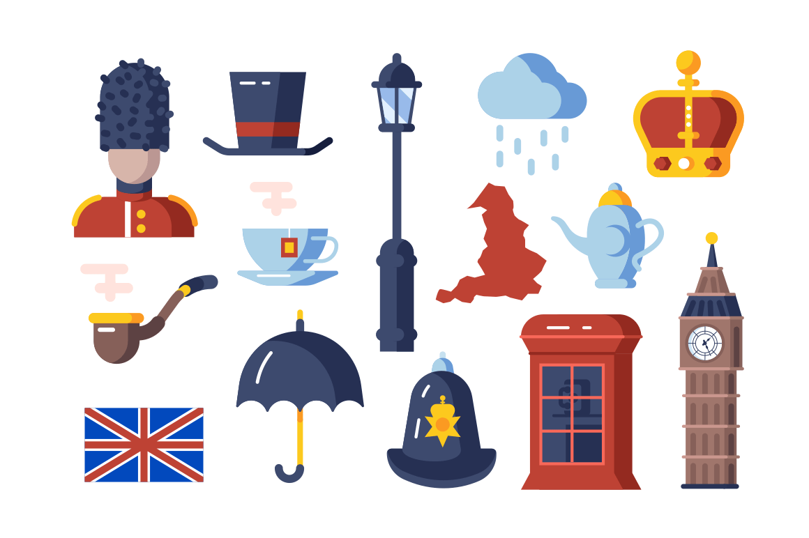 London symbols set vector illustration. Collection consists of famous landmark flag tea time signs queen guard flat style design. Travelling concept. Isolated on white