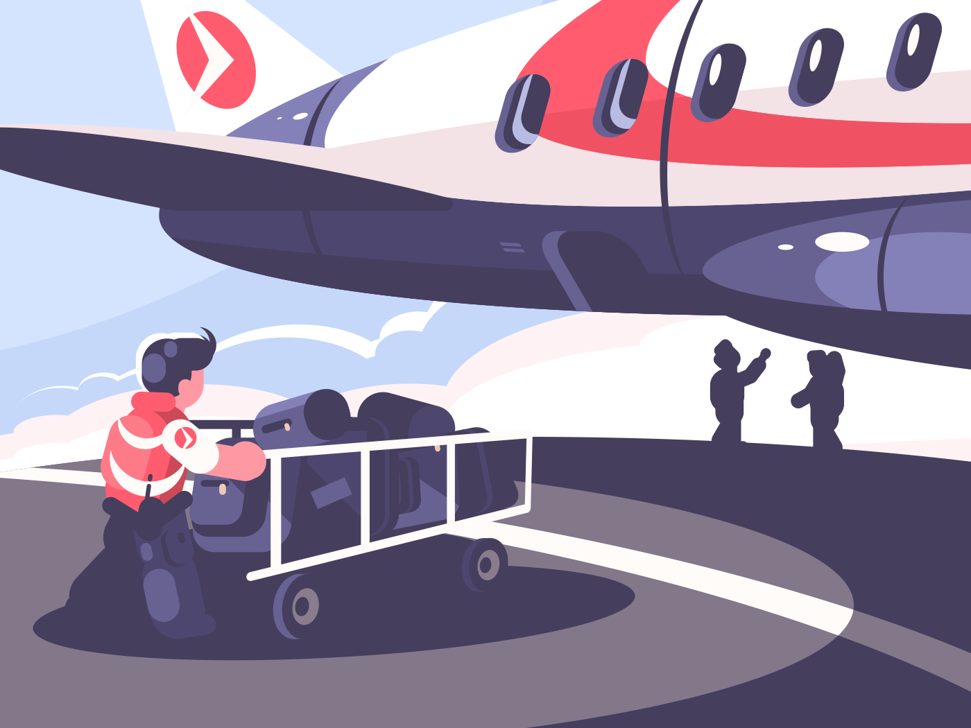 Loading of luggage in plane. Airport employee with baggage cart. Vector illustration