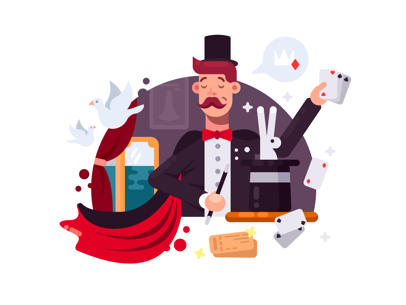Magician in cylinder and cloak illustration