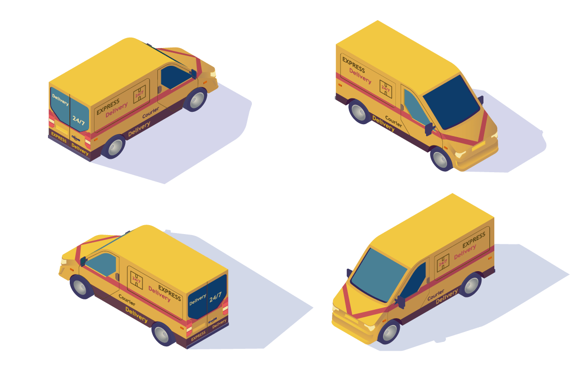 Set mail car for delivery of mail and parcels, package.