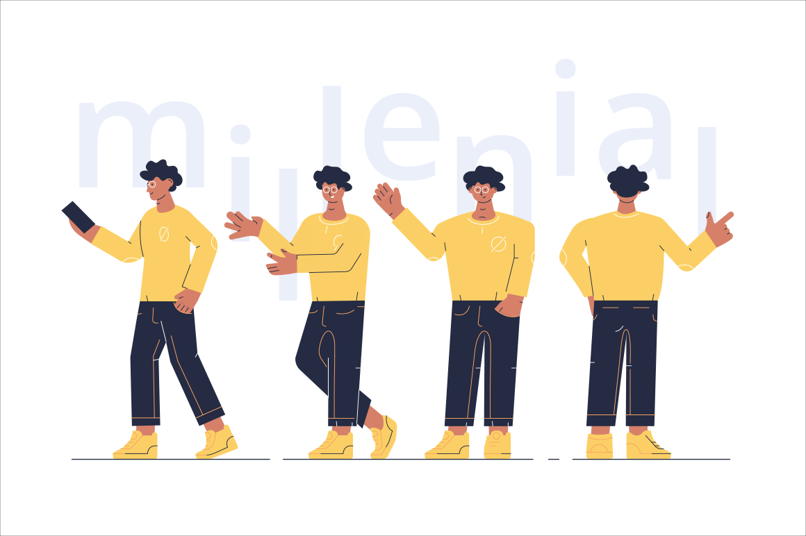 Men characters showing different gesture vector illustration. Boy holding smartphone and others guys demonstrating various signs with hands flat style concept. Millenial lettering