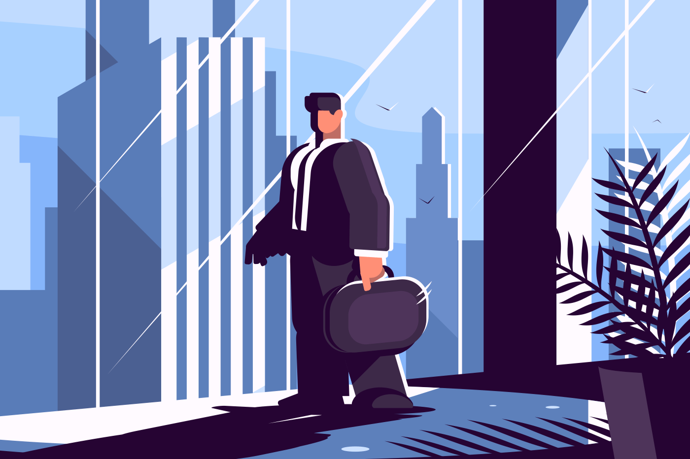 Businessman in suit with briefcase looking through window on city. Vector illustration