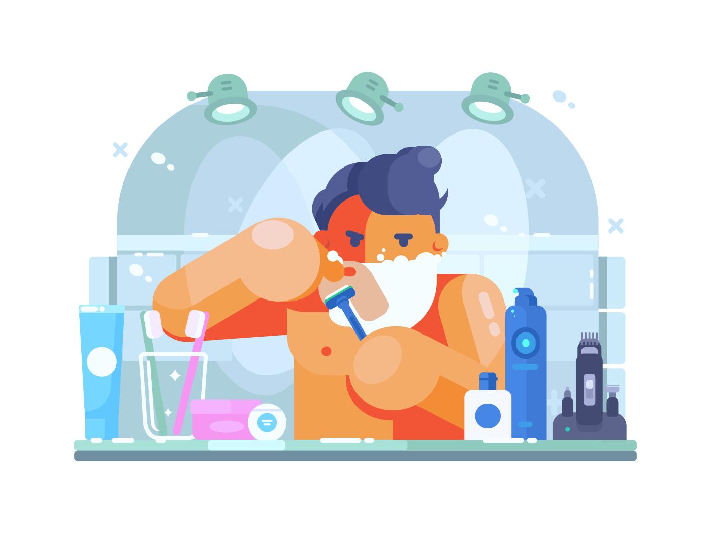 Man in bathroom shaves illustration