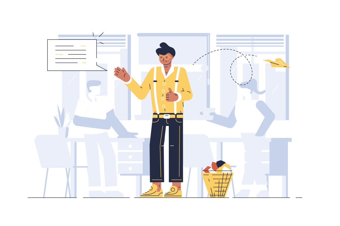 Manager in office vector illustration. Man discussing with people working process flat style concept. Worker in casual clothes corresponding with clients. Colleagues drinking coffee on background