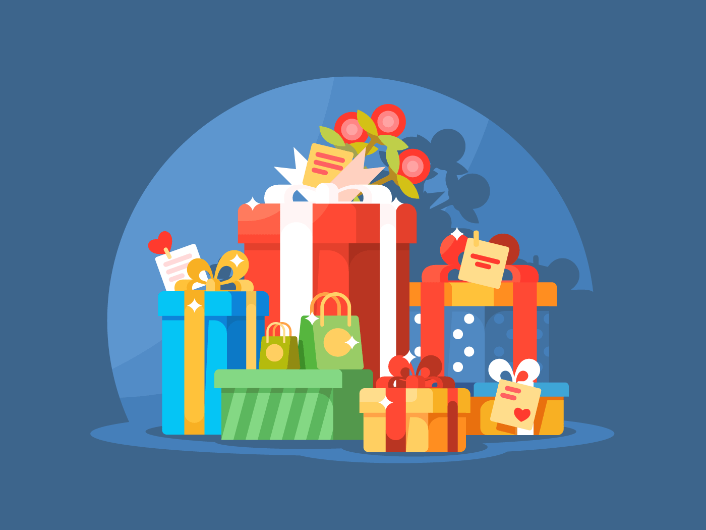 Heap of gift boxes flat vector illustration