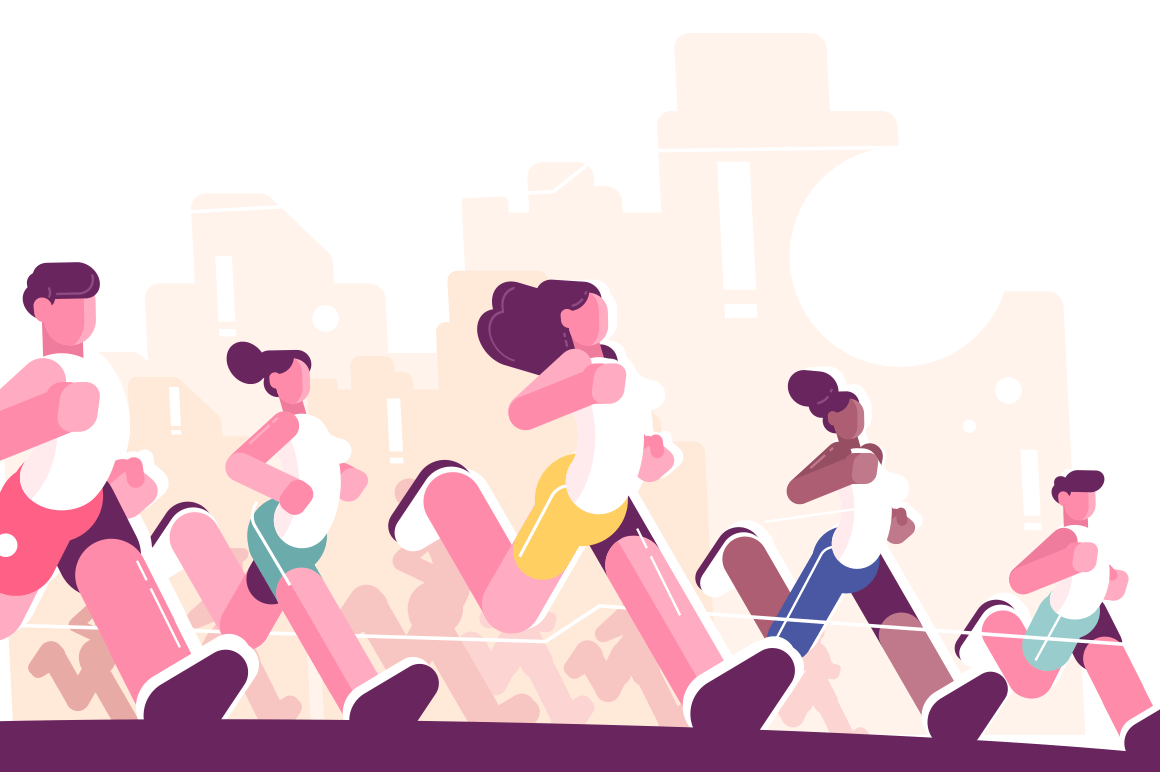 Men and women training to marathon in park. Jogging people in sportswear. Runners group in motion flat style vector illustration. Sport concept. Buildings on background