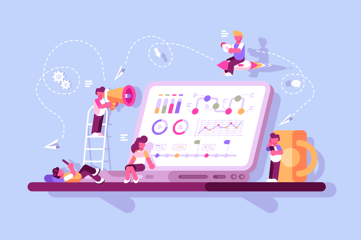 Team of specialists working on digital marketing strategy. Business analysis content and management concept vector illustration. Landing page template flat style design