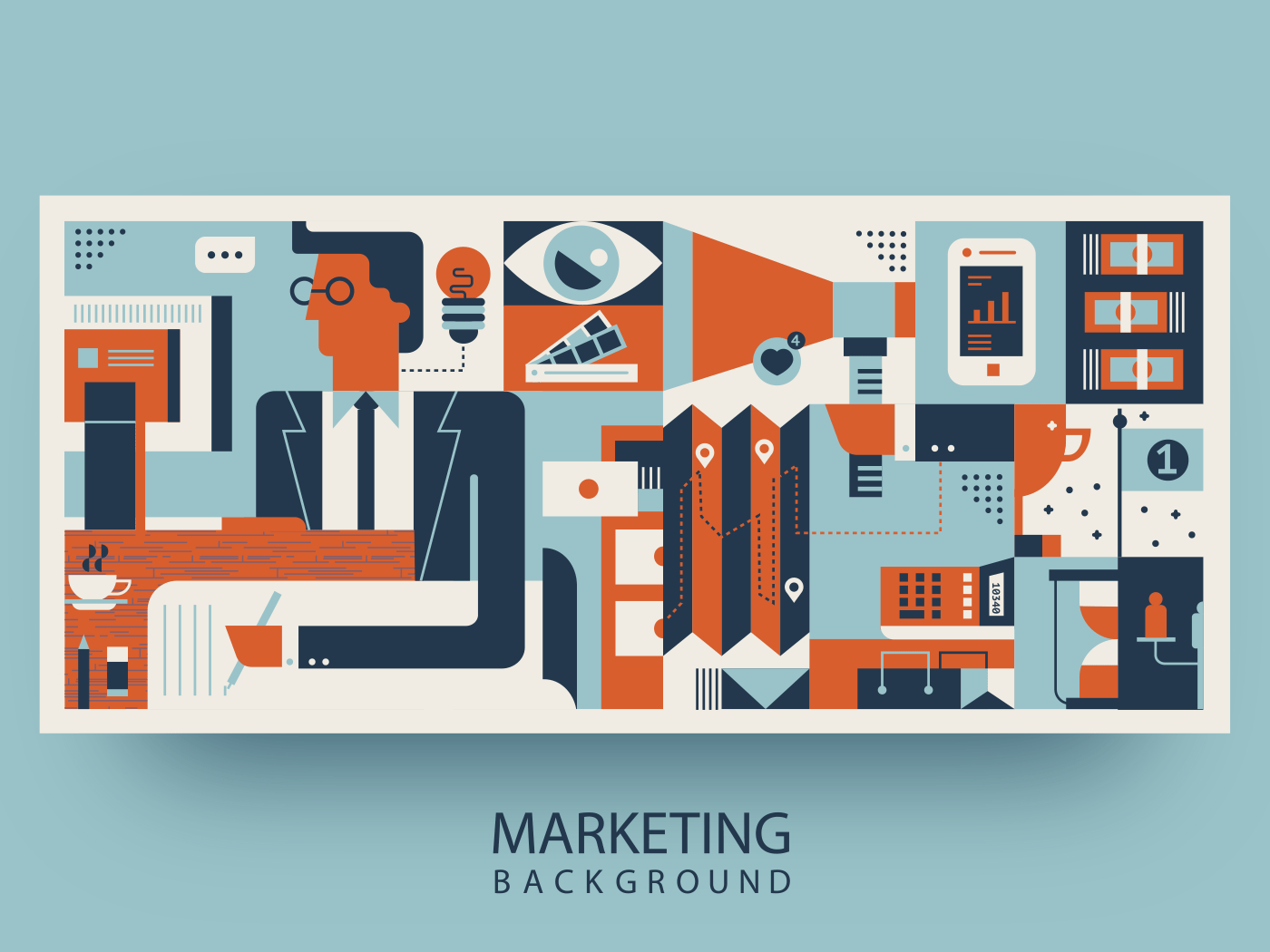 Marketing abstract background illustration
