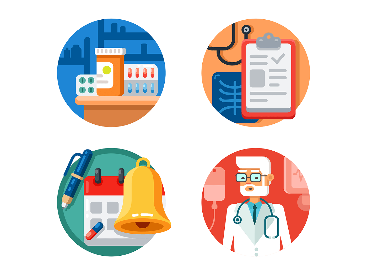 Medical treatment and examination icons