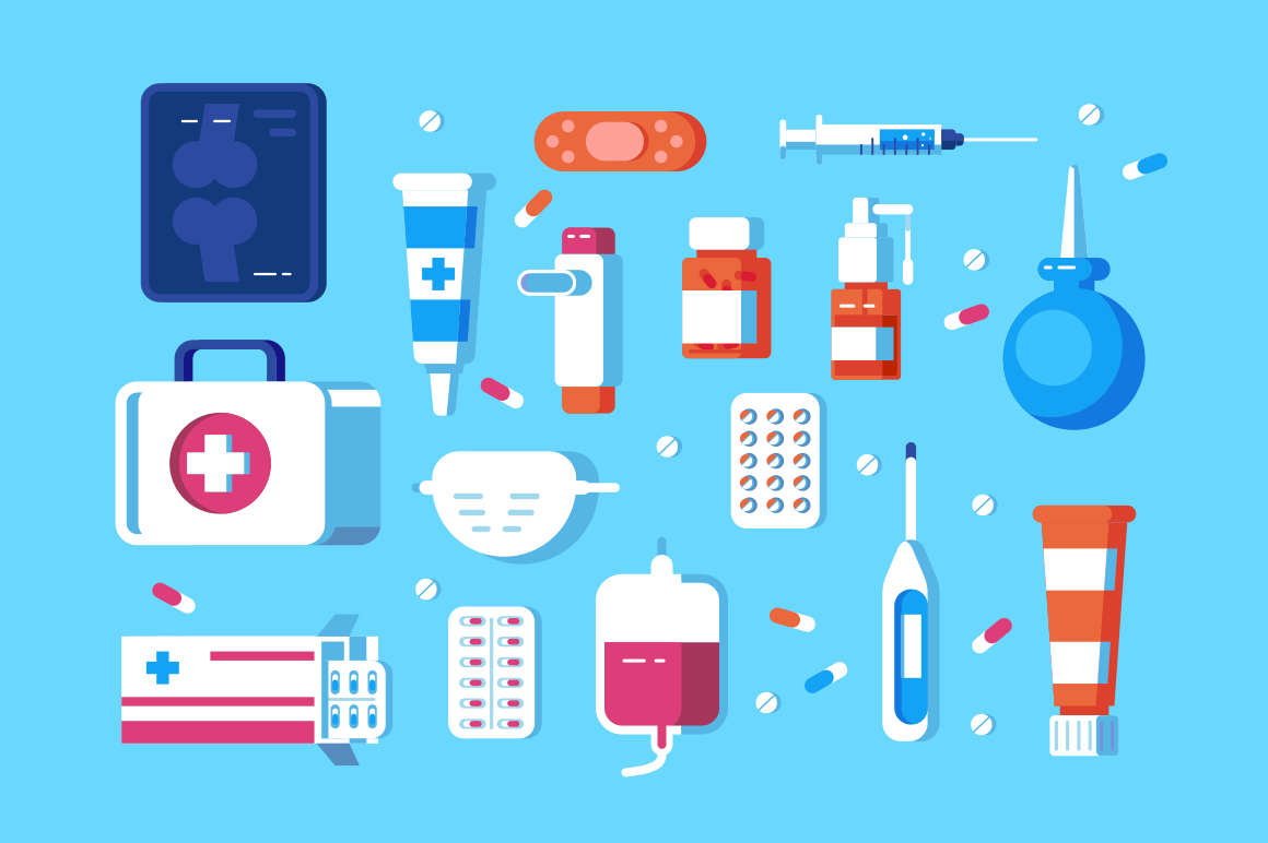 Set of medical accessories vector illustration. Different hospital premises consists of pills, syringe, hygienic mask and enema vector illustration flat style design. Health care concept
