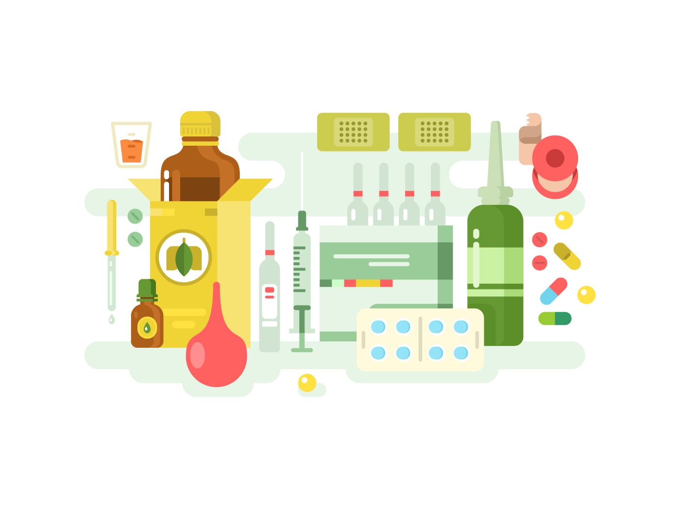 Medical drugs flat vector illustration