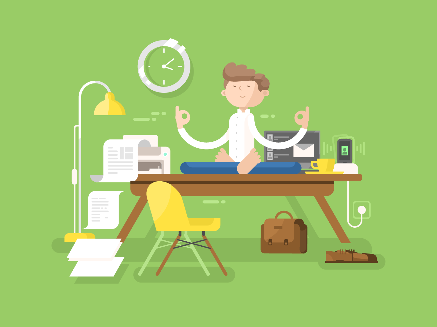 Meditation businessman in office flat vector illustration