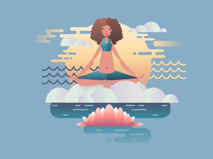 Woman meditation illustration