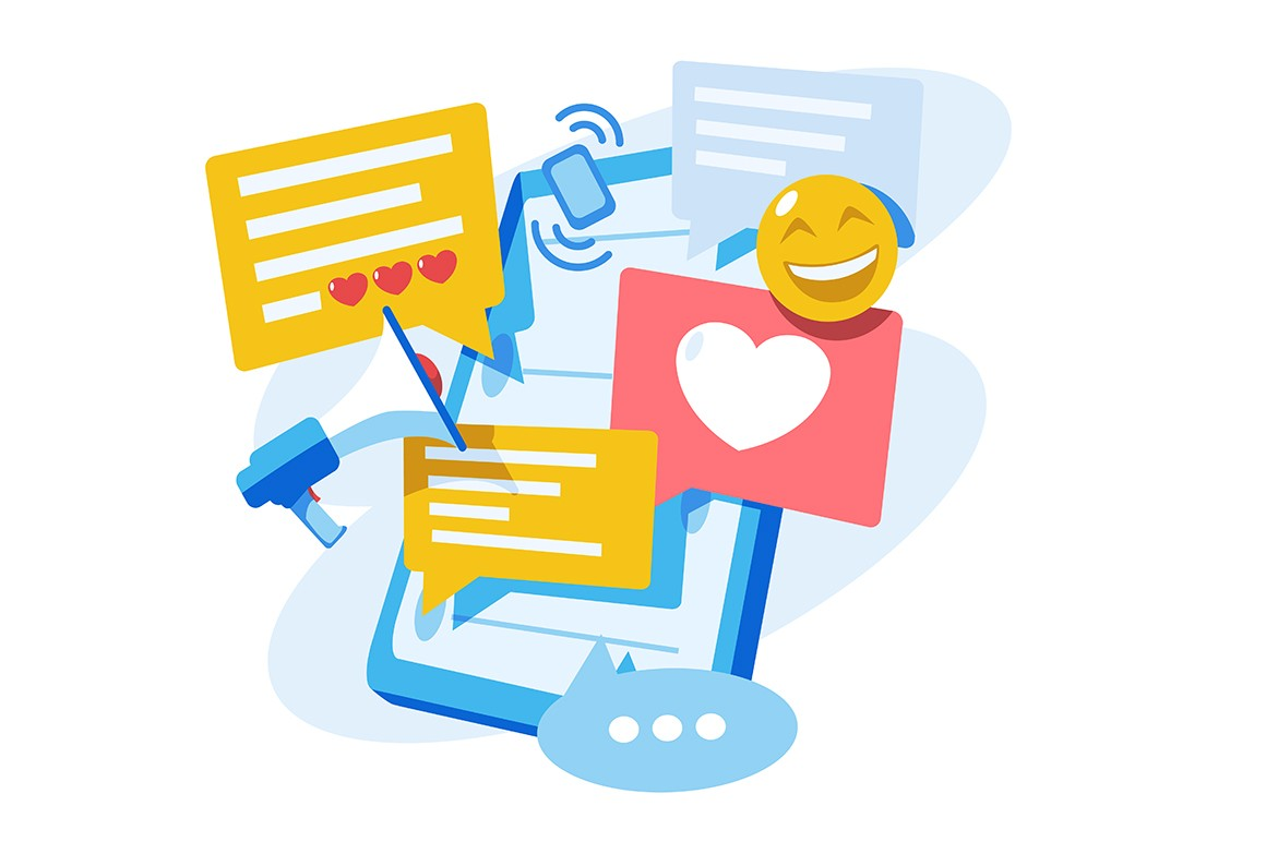 Social networks and online communications vector illustration. Messages, chatting, notifications speech bubbles flying out of screen flat style concept. Emoji, likes, loudspeaker icons