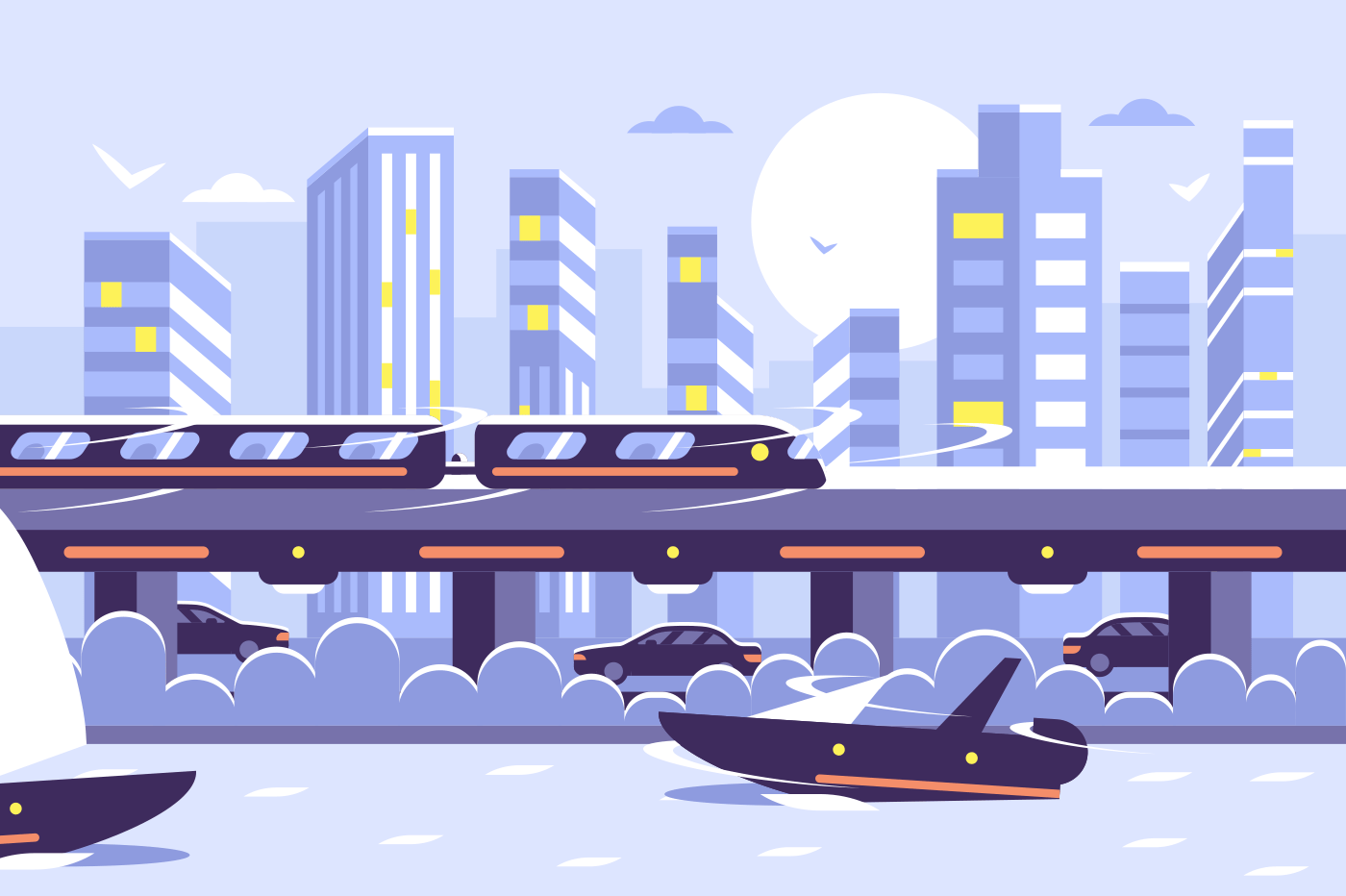 Futuristic subway train monorail over sunset cityscape. Electric train modern city skyscraper view. Flat. Vector illustration.