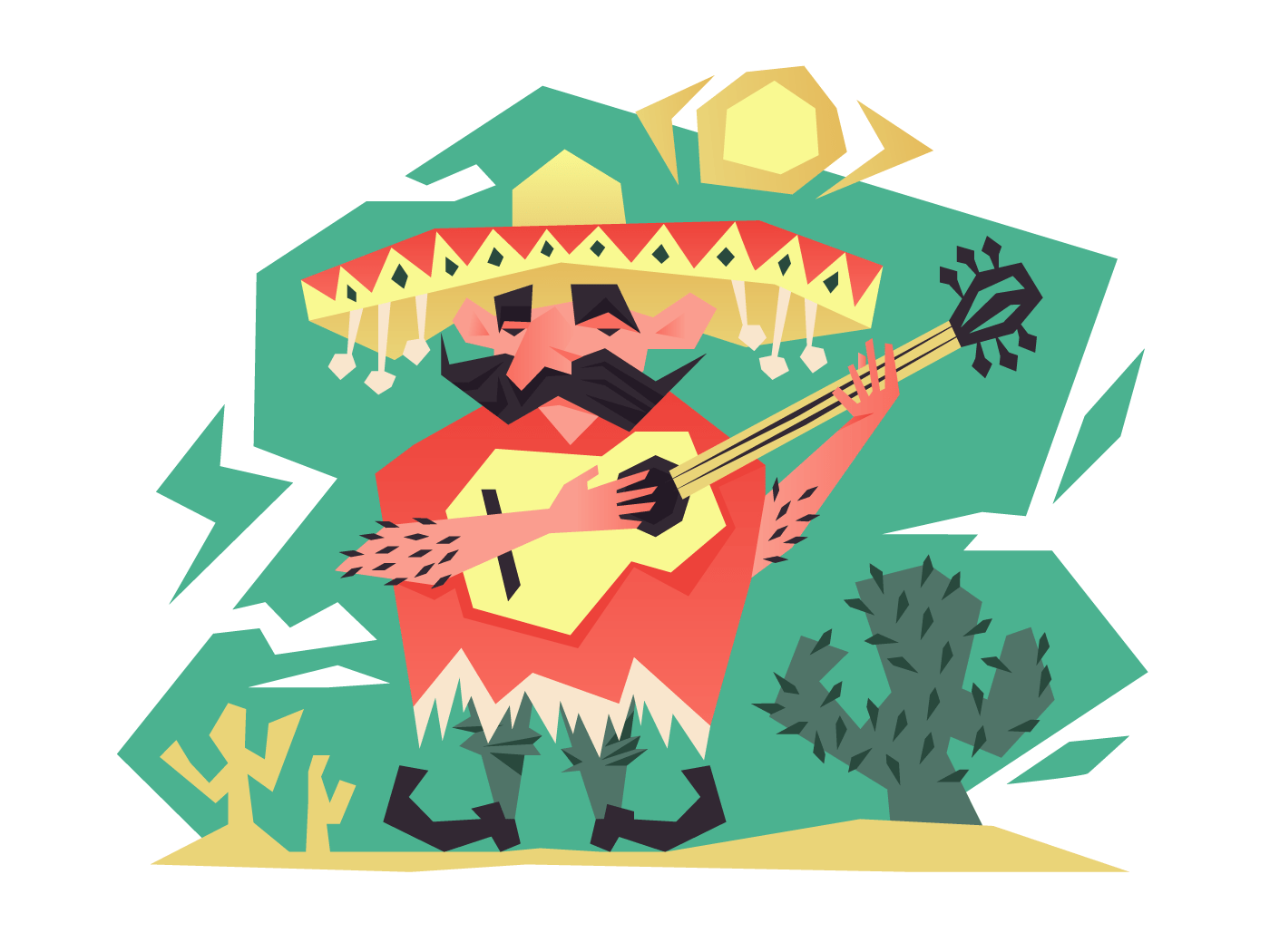 Cartoon mexican man illustration