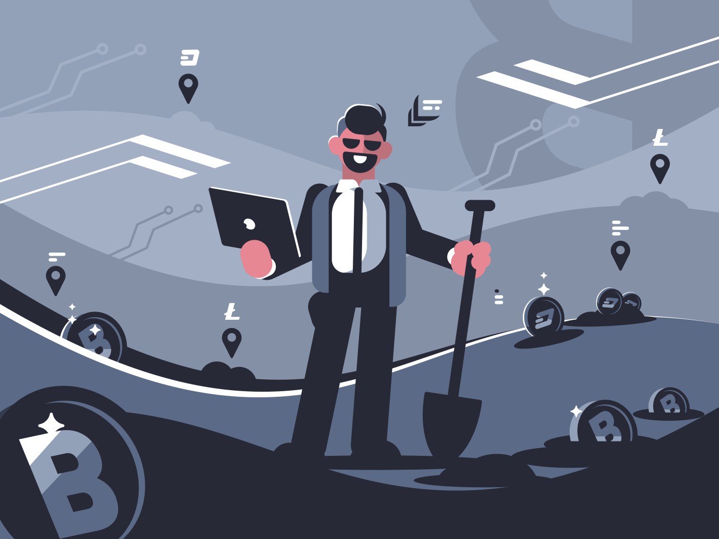 Digital miner of crypto currency. Successful modern businessman. Vector illustration