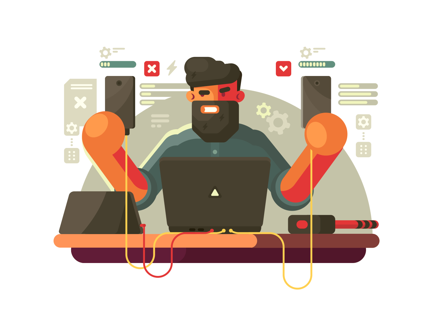 Developer of mobile phones illustration
