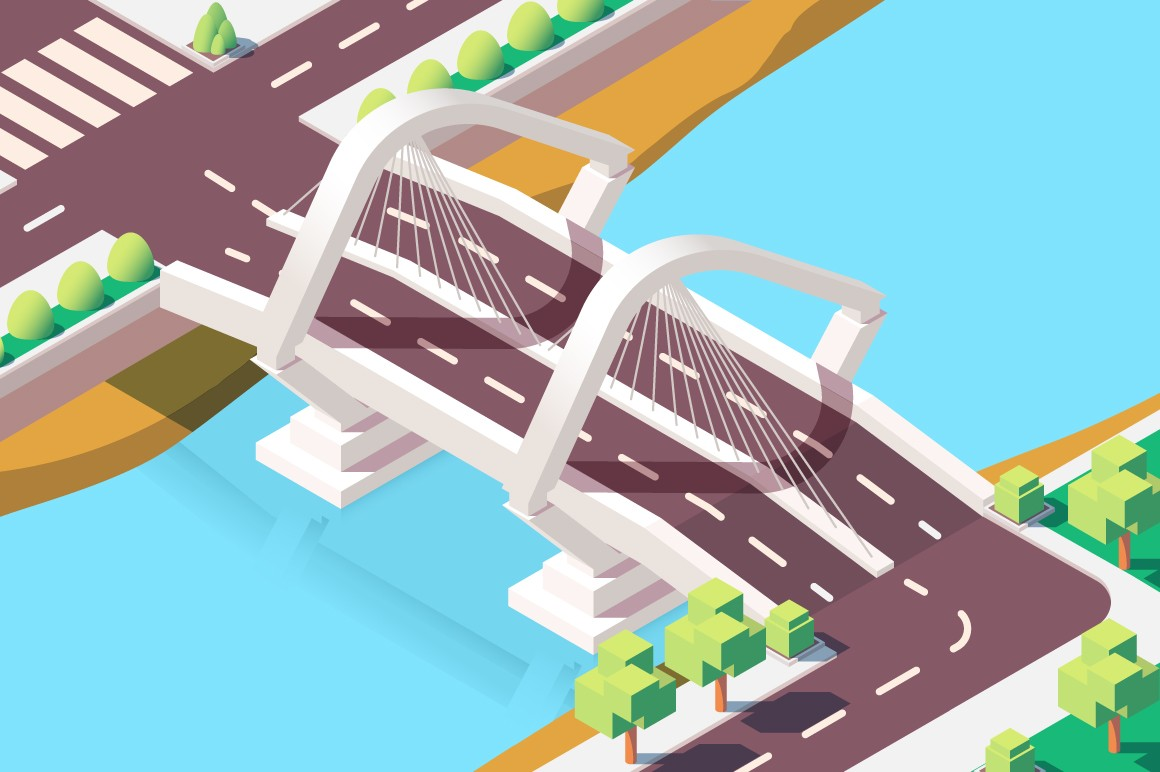 3d isometric modern bridge with urban landscape.