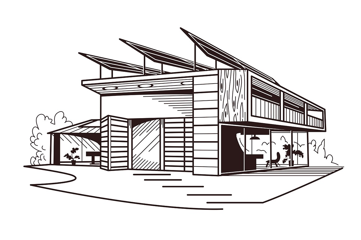 Modern ecologically clean building vector illustration. Two-storied house with solar panels on roof in black and white colours flat style design. Green energy and renewable resources concept