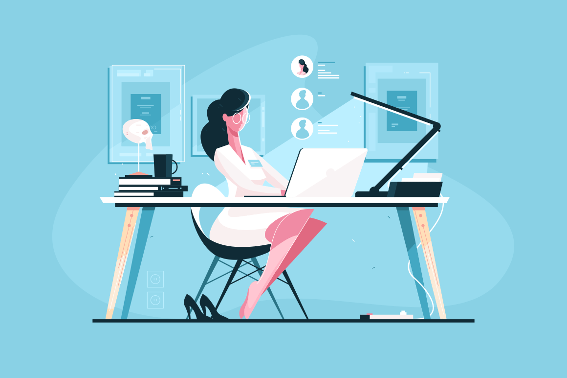 Modern doctor at workplace vector illustration. Young woman in white doctor uniform sitting at desk and giving consultation via internet flat style design. Health care and online medicine concept